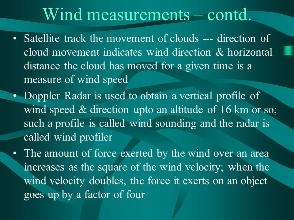 Wind measurements – contd.