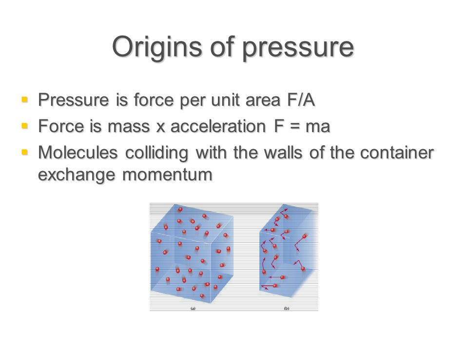 Origins of pressure  Pressure if force per unit area F/A  Force is mass x acceleration F = ma  Molecules colliding with the walls of the container exchange momentum