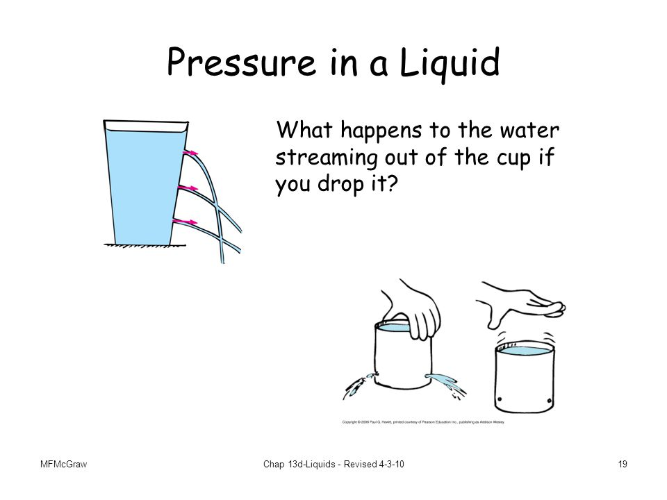 MFMcGrawChap 13d-Liquids - Revised 4-3-1019 Pressure in a Liquid What happens to the water streaming out of the cup if you drop it