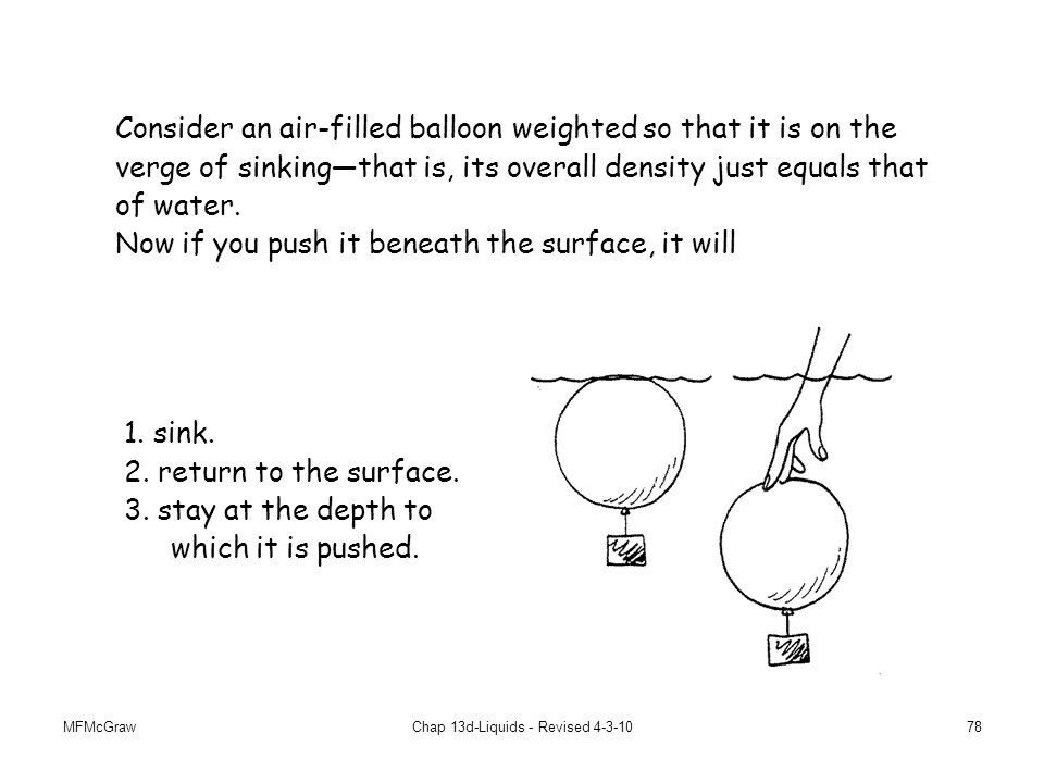 MFMcGrawChap 13d-Liquids - Revised 4-3-1078 Consider an air-filled balloon weighted so that it is on the verge of sinking—that is, its overall density just equals that of water.