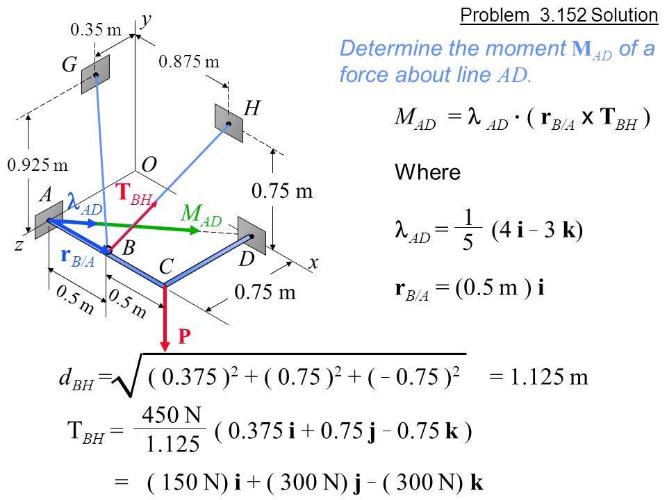 Problem 3.152 Solution M AD = AD.
