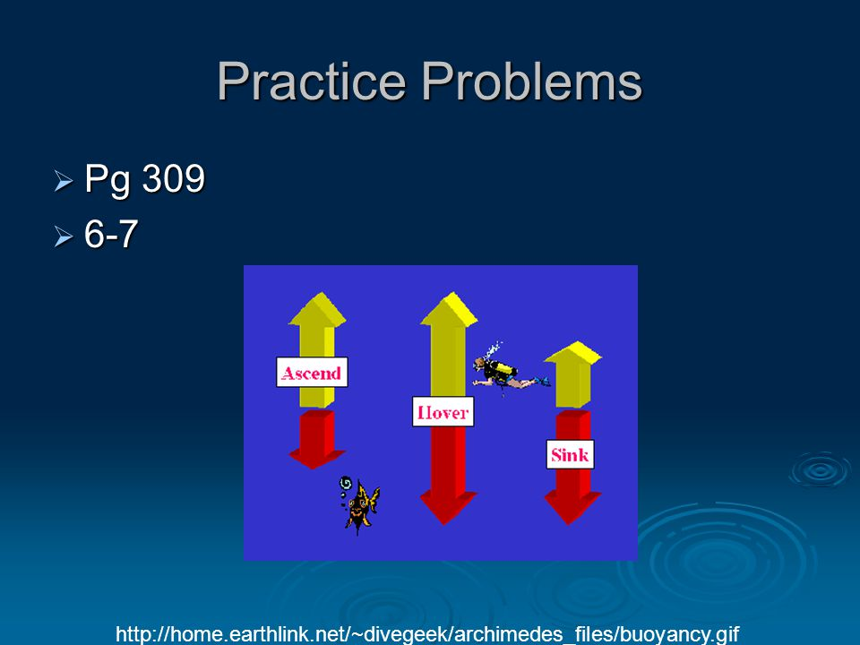 Practice Problems  Pg 309  6-7 http://home.earthlink.net/~divegeek/archimedes_files/buoyancy.gif