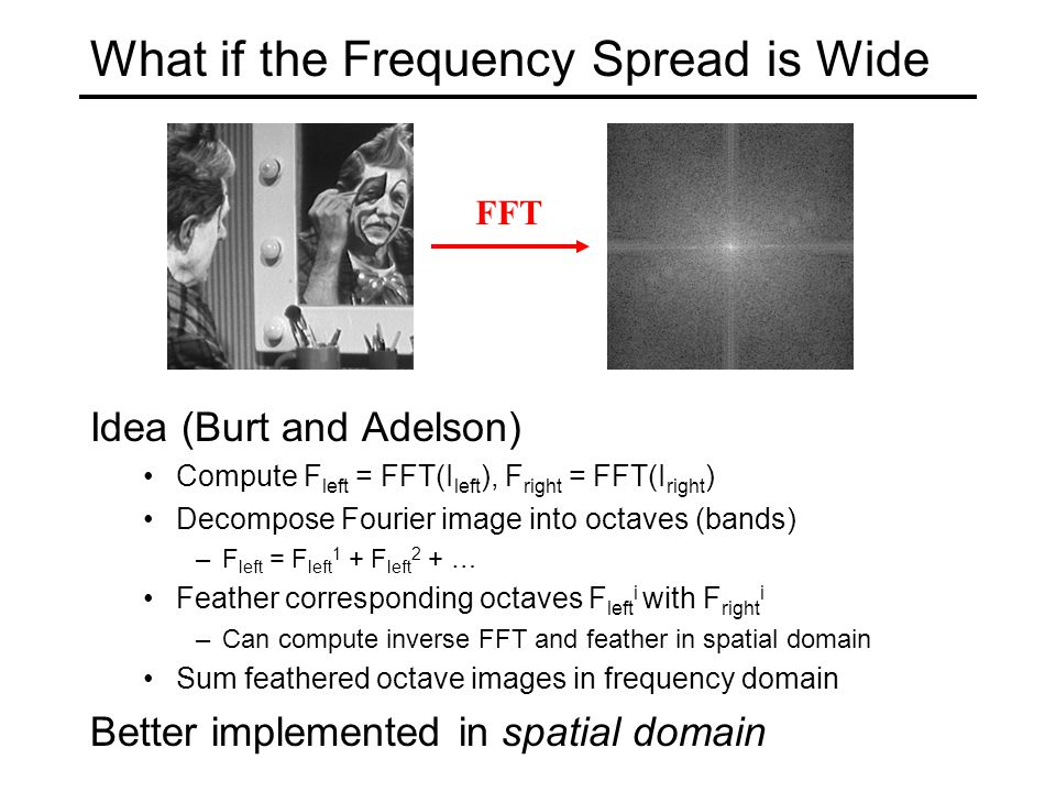 What if the Frequency Spread is Wide Idea (Burt and Adelson) Compute F left = FFT(I left ), F right = FFT(I right ) Decompose Fourier image into octaves (bands) –F left = F left 1 + F left 2 + … Feather corresponding octaves F left i with F right i –Can compute inverse FFT and feather in spatial domain Sum feathered octave images in frequency domain Better implemented in spatial domain FFT