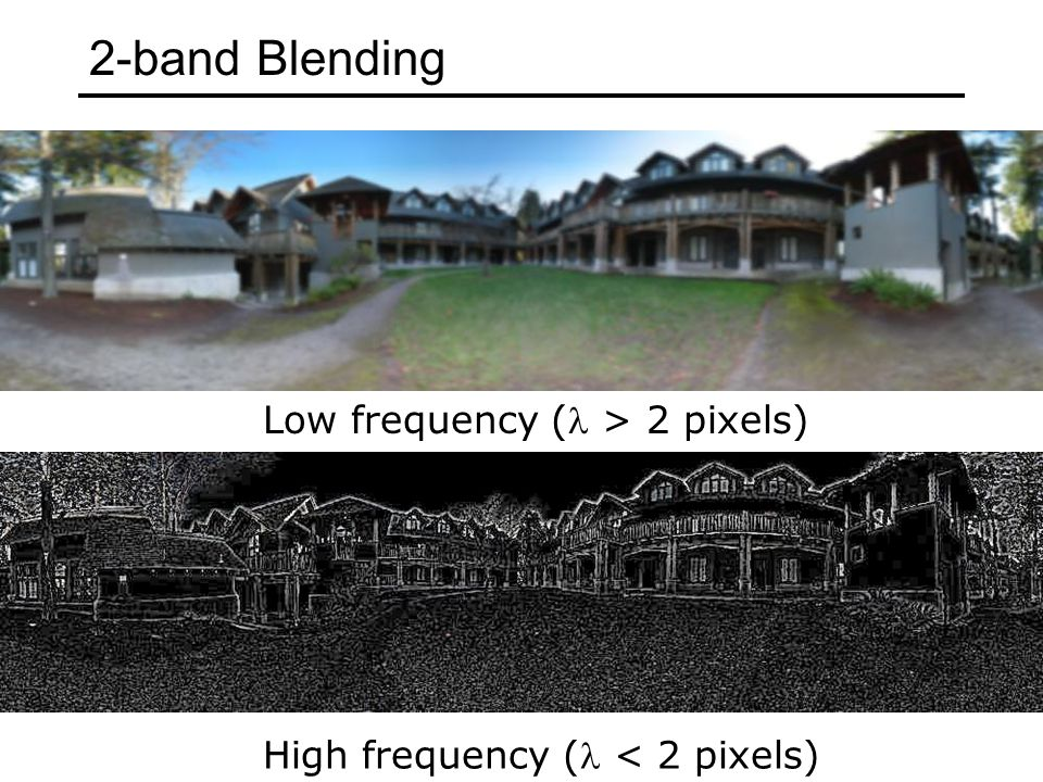 Low frequency ( > 2 pixels) High frequency ( < 2 pixels) 2-band Blending