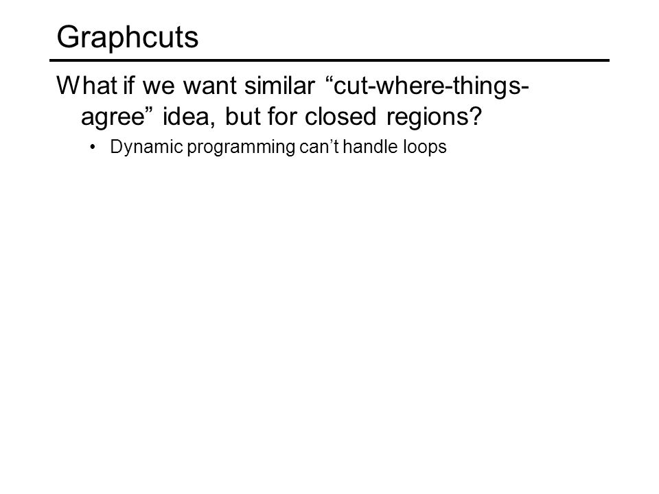 Graphcuts What if we want similar cut-where-things- agree idea, but for closed regions.