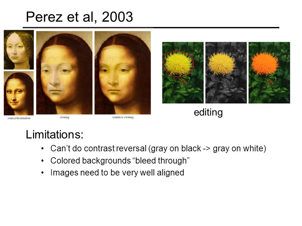 Perez et al, 2003 Limitations: Can't do contrast reversal (gray on black -> gray on white) Colored backgrounds bleed through Images need to be very well aligned editing