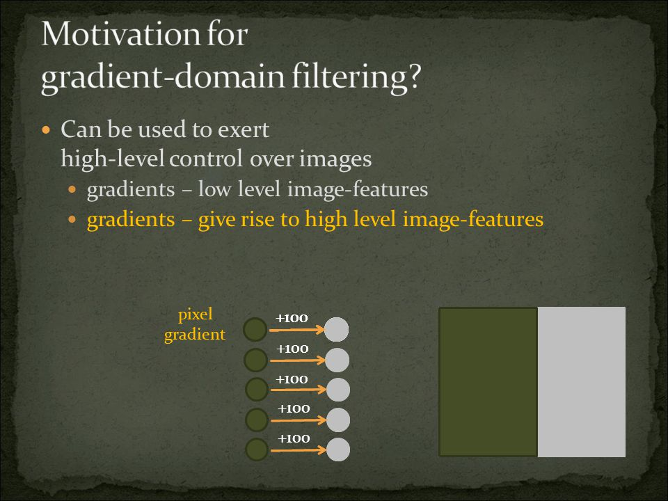 Can be used to exert high-level control over images gradients – low level image-features gradients – give rise to high level image-features +100 pixel gradient +100 pixel gradient