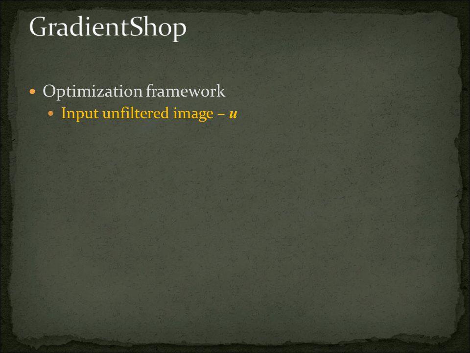 Optimization framework Input unfiltered image – u