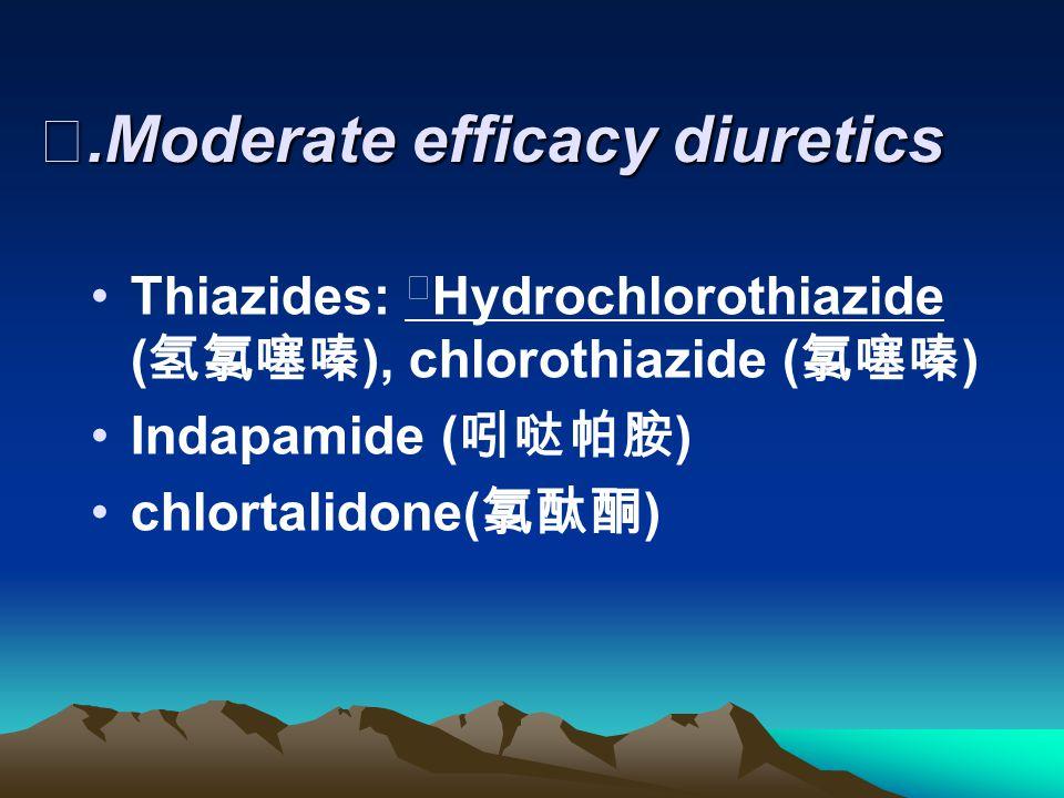 Ⅱ.Moderate efficacy diuretics Thiazides: ※ Hydrochlorothiazide ( 氢氯噻嗪 ), chlorothiazide ( 氯噻嗪 ) Indapamide ( 吲哒帕胺 ) chlortalidone( 氯酞酮 )