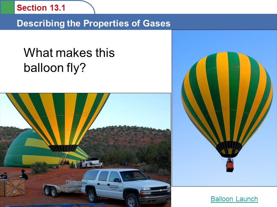 Section 13.1 Describing the Properties of Gases What makes this balloon fly? Balloon Launch