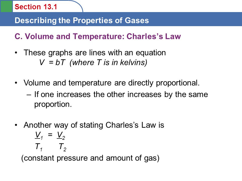 Section 13.1 Describing the Properties of Gases These graphs are lines with an equation V = bT (where T is in kelvins) C.