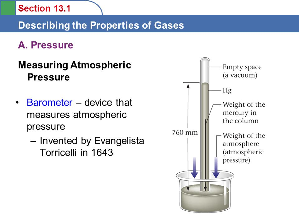Section 13.1 Describing the Properties of Gases A.