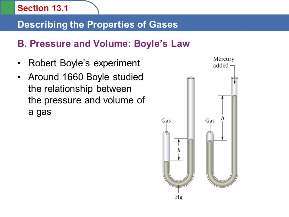 Section 13.1 Describing the Properties of Gases Robert Boyle's experiment Around 1660 Boyle studied the relationship between the pressure and volume of a gas B.