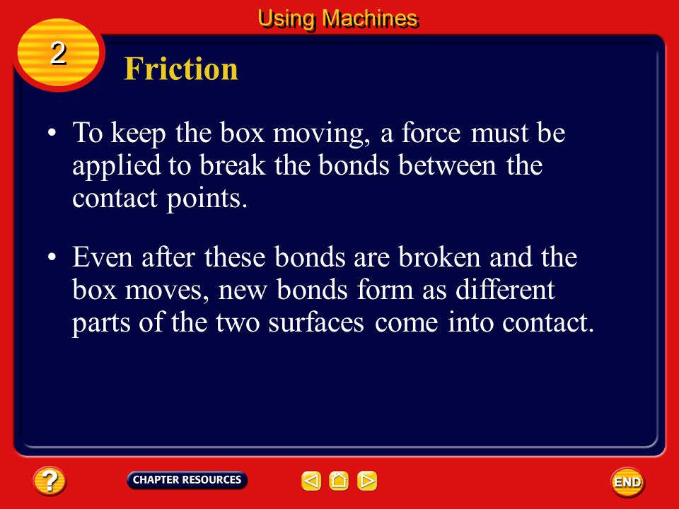 Friction As the two surfaces slide past each other, high spots on the two surfaces come in contact.