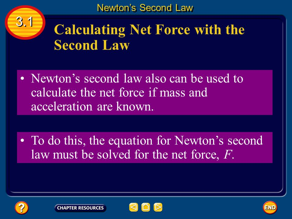 Newton's second law of motion – F= MA Force equals the mass x acceleration Force- Newtons (N) Mass- Kg Acceleration- M/S² Sample Problems: Newton's Se