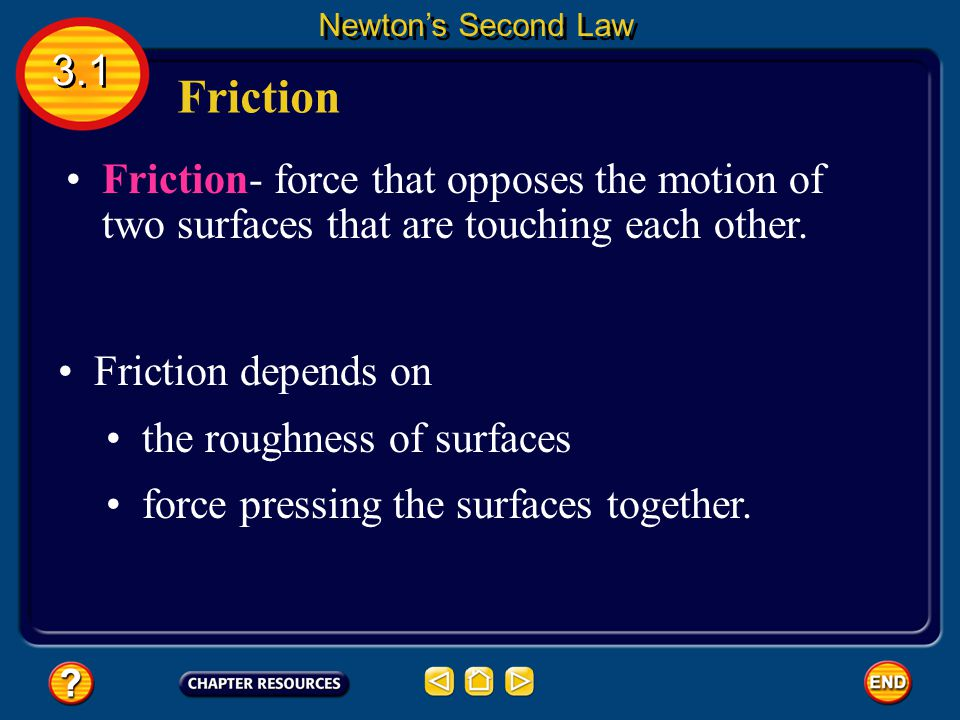 Suppose you give a skateboard a push with your hand. Friction 3.1 Newton's Second Law According to Newton's first law of motion, if the net force acti