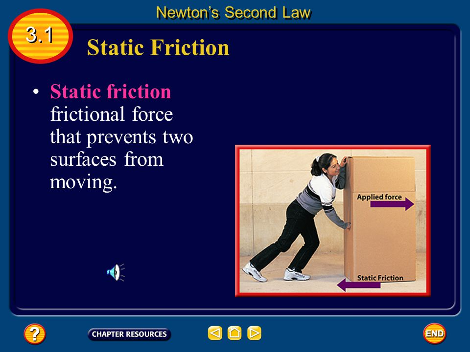 Suppose you have filled a cardboard box with books and want to move it. Static Friction 3.1 Newton's Second Law It's too heavy to lift, so you start p