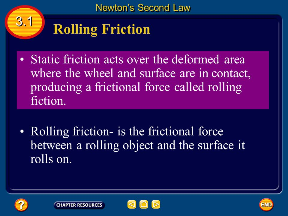 Rolling Friction 3.1 Newton's Second Law As a wheel rolls over a surface, the wheel digs into the surface, causing both the wheel and the surface to b