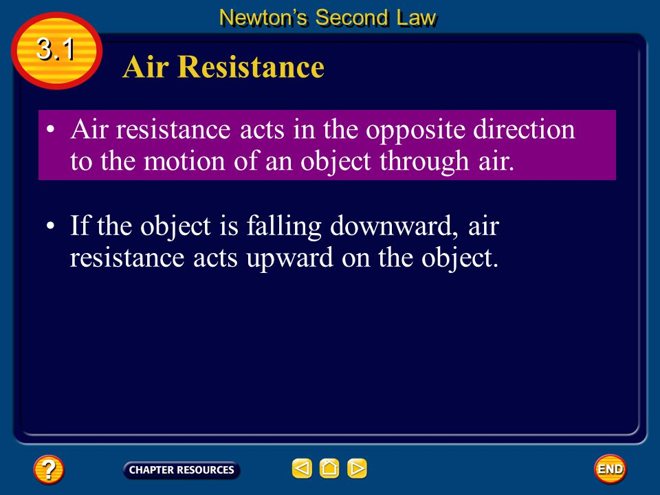 Air Resistance 3.1 Newton's Second Law air resistance opposes the motion of objects that move through the air. Air resistance causes objects to fall w