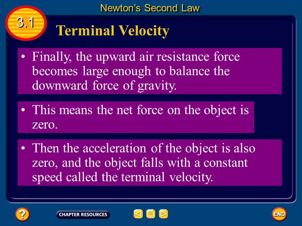 As an object falls, the downward force of gravity causes the object to accelerate. Terminal Velocity 3.1 Newton's Second Law However, as an object fal