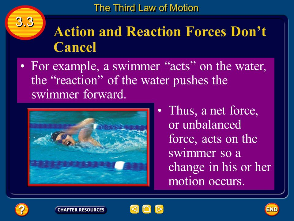 Action and Reaction Forces Don't Cancel According to the third law of motion, objects are experiencing unbalanced forces Thus, even though the forces