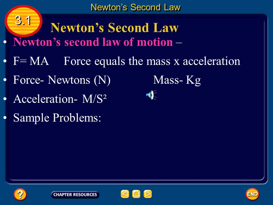 Air Resistance 3.1 Newton's Second Law air resistance opposes the motion of objects that move through the air.