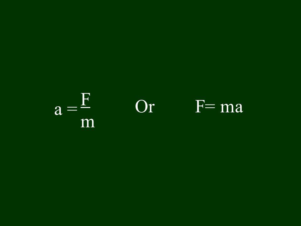 FmFm OrF= ma a =