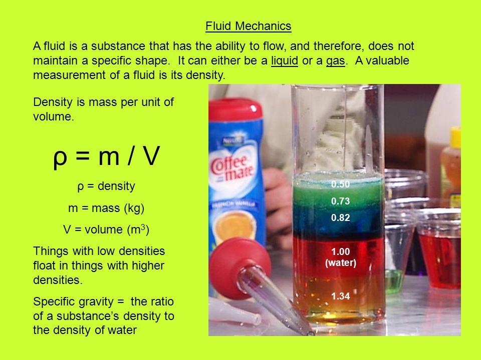 Fluid Mechanics Density is mass per unit of volume.