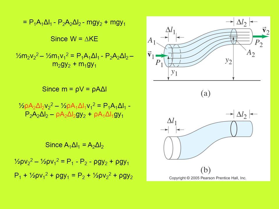 = P 1 A 1 Δl 1 - P 2 A 2 Δl 2 - mgy 2 + mgy 1 Since W = ∆KE ½m 2 v 2 2 – ½m 1 v 1 2 = P 1 A 1 Δl 1 - P 2 A 2 Δl 2 – m 2 gy 2 + m 1 gy 1 Since m = ρV = ρAΔl ½ρA 2 Δl 2 v 2 2 – ½ρA 1 Δl 1 v 1 2 = P 1 A 1 Δl 1 - P 2 A 2 Δl 2 – ρA 2 Δl 2 gy 2 + ρA 1 Δl 1 gy 1 Since A 1 Δl 1 = A 2 Δl 2 ½ρv 2 2 – ½ρv 1 2 = P 1 - P 2 - ρgy 2 + ρgy 1 P 1 + ½ρv 1 2 + ρgy 1 = P 2 + ½ρv 2 2 + ρgy 2