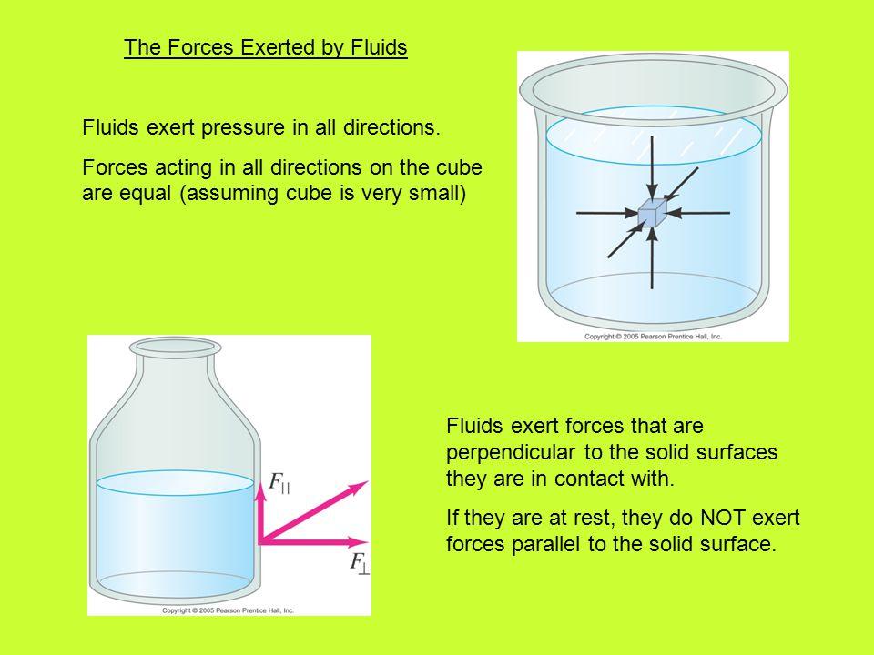 Fluids exert pressure in all directions.