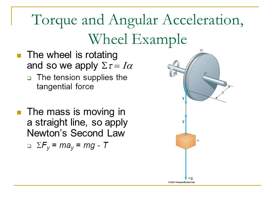 Torque and Angular Acceleration, Wheel Example The wheel is rotating and so we apply   The tension supplies the tangential force The mass is m