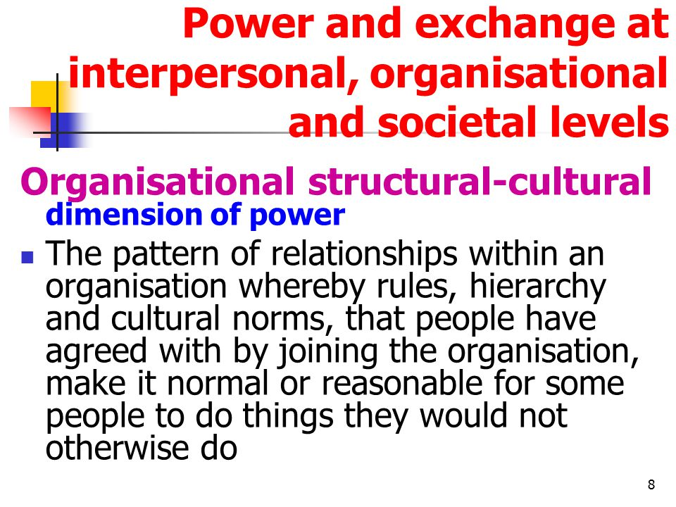 8 Power and exchange at interpersonal, organisational and societal levels Organisational structural-cultural dimension of power The pattern of relationships within an organisation whereby rules, hierarchy and cultural norms, that people have agreed with by joining the organisation, make it normal or reasonable for some people to do things they would not otherwise do