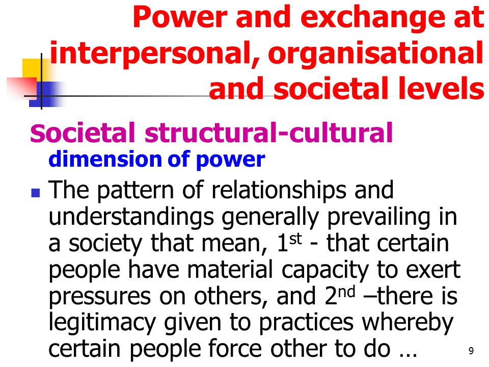 9 Power and exchange at interpersonal, organisational and societal levels S ocietal structural-cultural dimension of power The pattern of relationships and understandings generally prevailing in a society that mean, 1 st - that certain people have material capacity to exert pressures on others, and 2 nd –there is legitimacy given to practices whereby certain people force other to do …