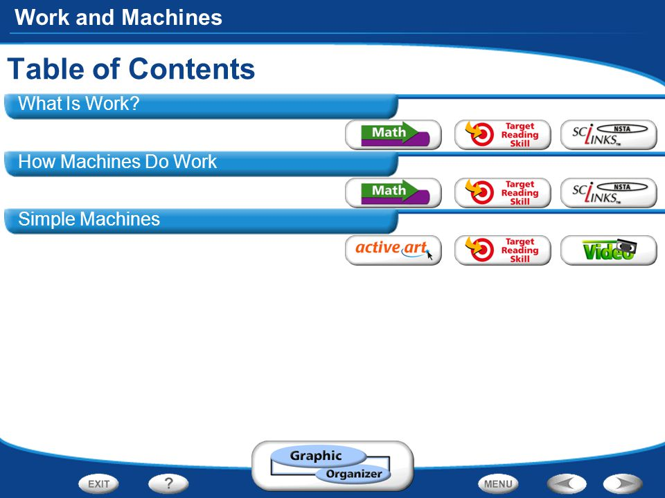 Work and Machines What Is Work How Machines Do Work Simple Machines Table of Contents
