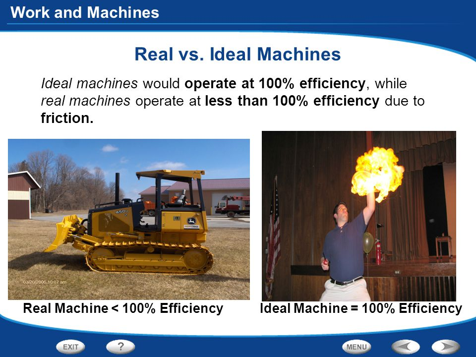 Work and Machines Real vs.