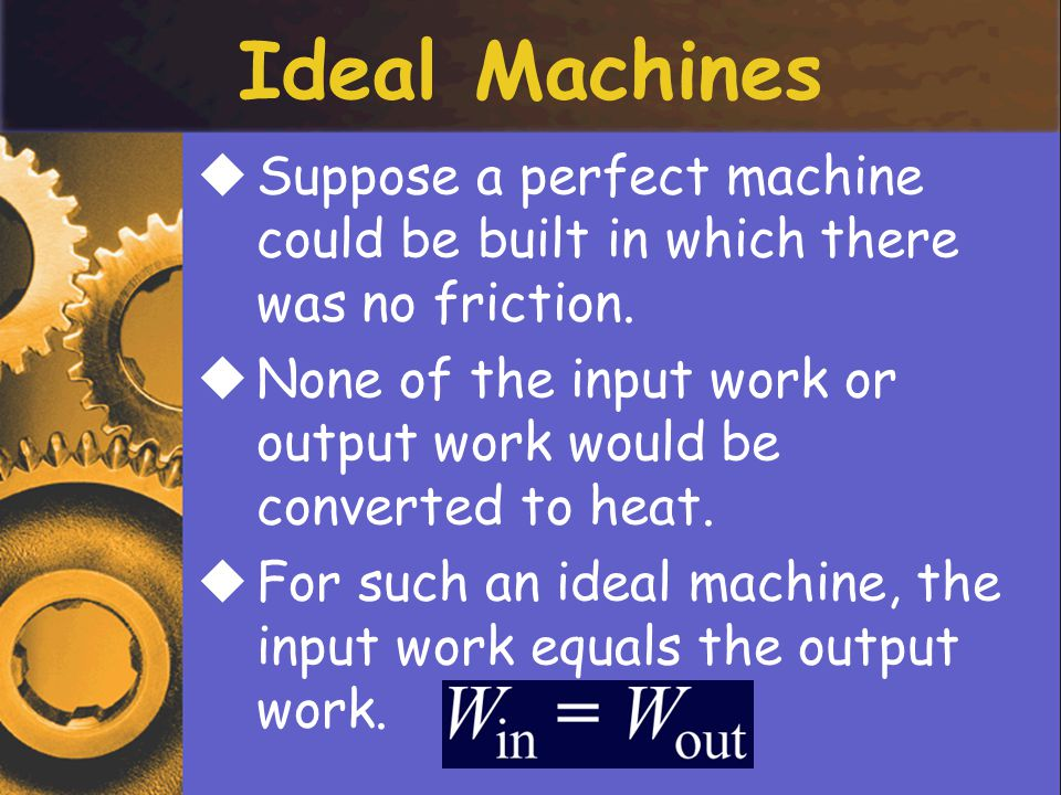 Ideal Machines SSuppose a perfect machine could be built in which there was no friction.