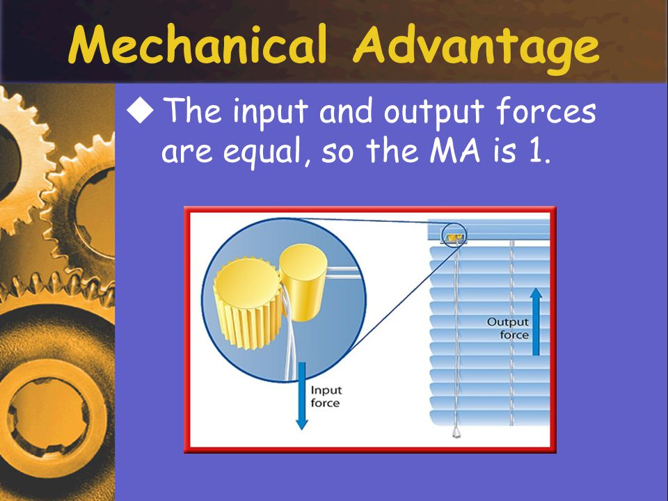 TThe input and output forces are equal, so the MA is 1.