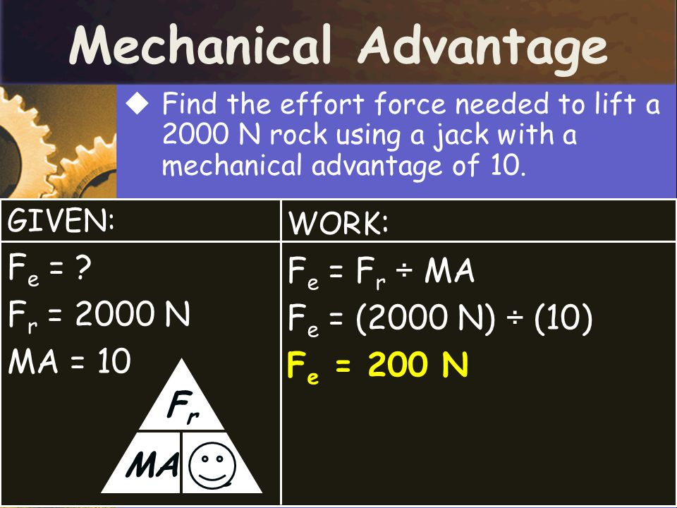 Mechanical Advantage  Find the effort force needed to lift a 2000 N rock using a jack with a mechanical advantage of 10.