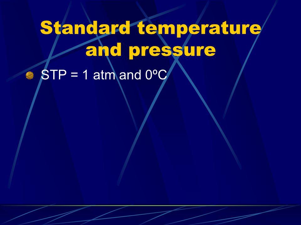 Standard temperature and pressure STP = 1 atm and 0ºC