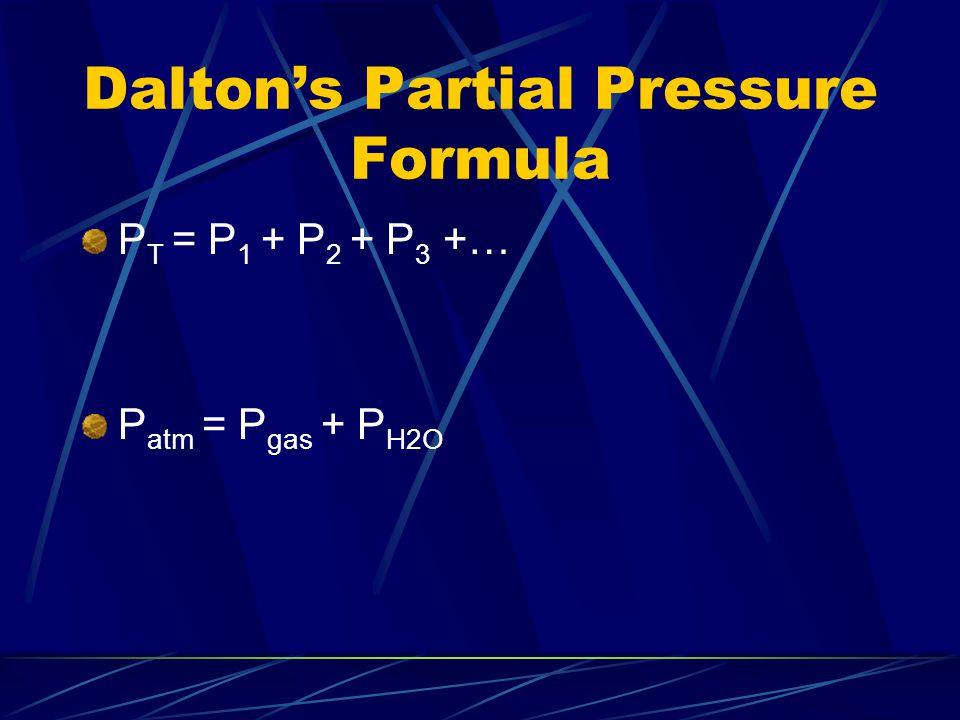 Dalton's Partial Pressure Formula P T = P 1 + P 2 + P 3 +… P atm = P gas + P H2O