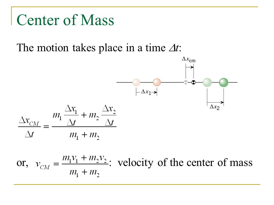 Center of Mass The motion takes place in a time  t: or, : velocity of the center of mass