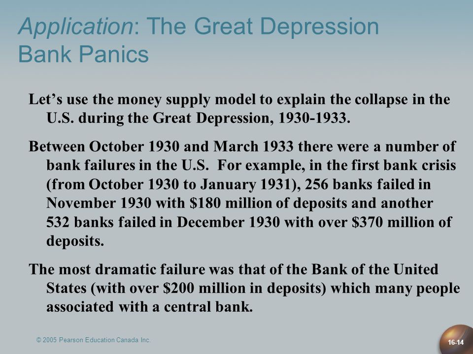 © 2005 Pearson Education Canada Inc. 16-14 Let's use the money supply model to explain the collapse in the U.S. during the Great Depression, 1930-1933