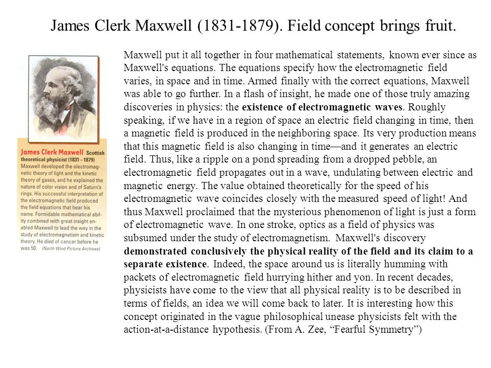 James Clerk Maxwell (1831-1879). Field concept brings fruit.