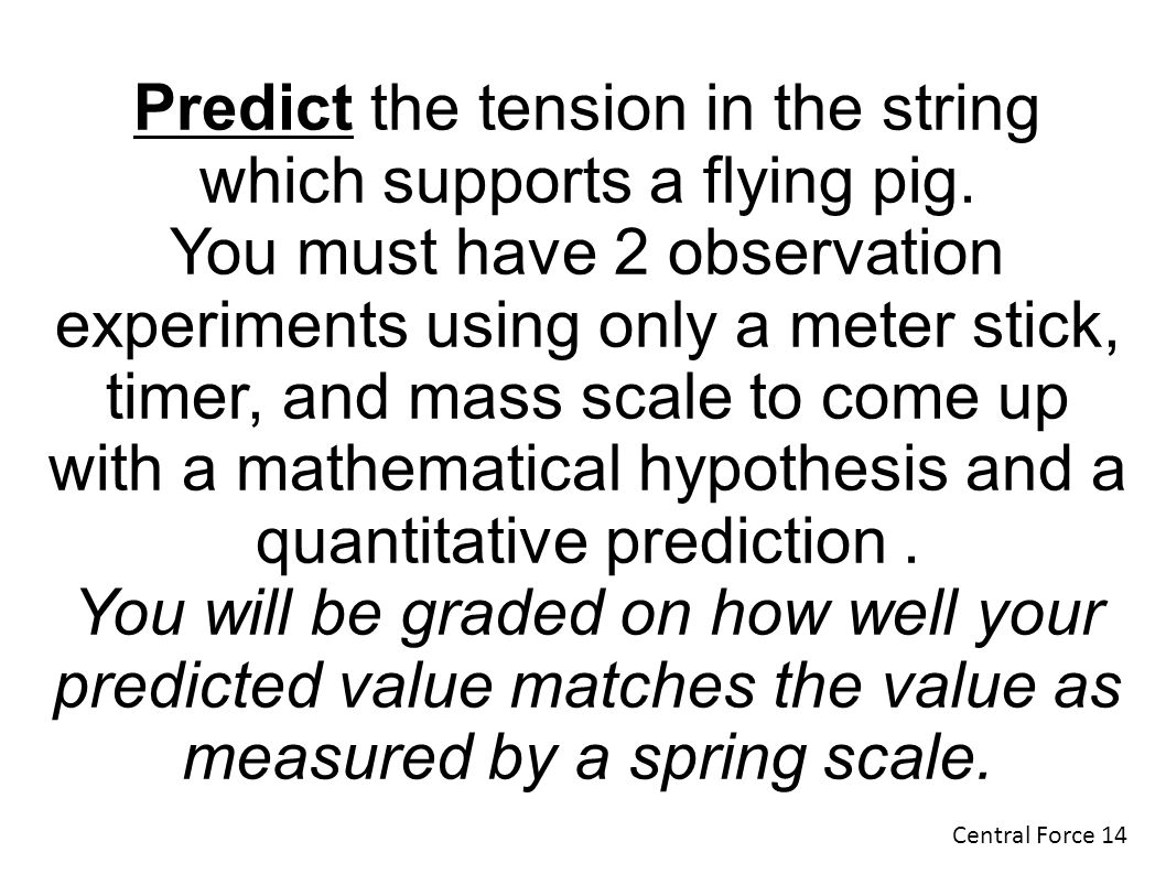 Predict the tension in the string which supports a flying pig.