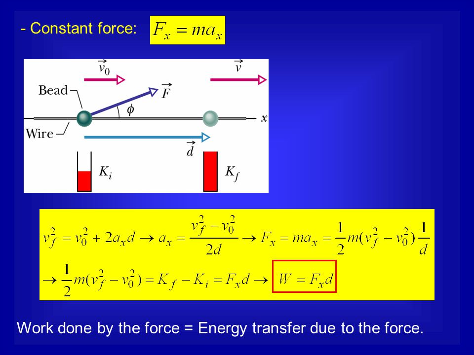 - Constant force: Work done by the force = Energy transfer due to the force.