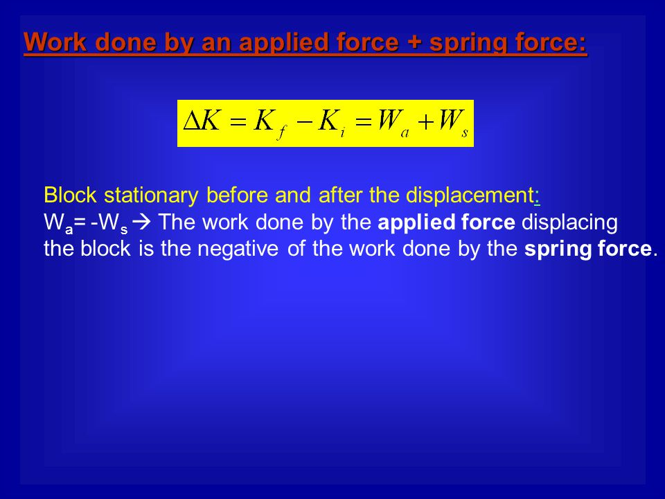 Work done by an applied force + spring force: Block stationary before and after the displacement: W a = -W s  The work done by the applied force disp