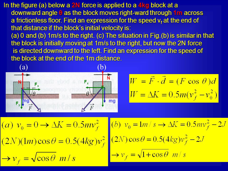 In the figure (a) below a 2N force is applied to a 4kg block at a In the figure (a) below a 2N force is applied to a 4kg block at a downward angle θ a