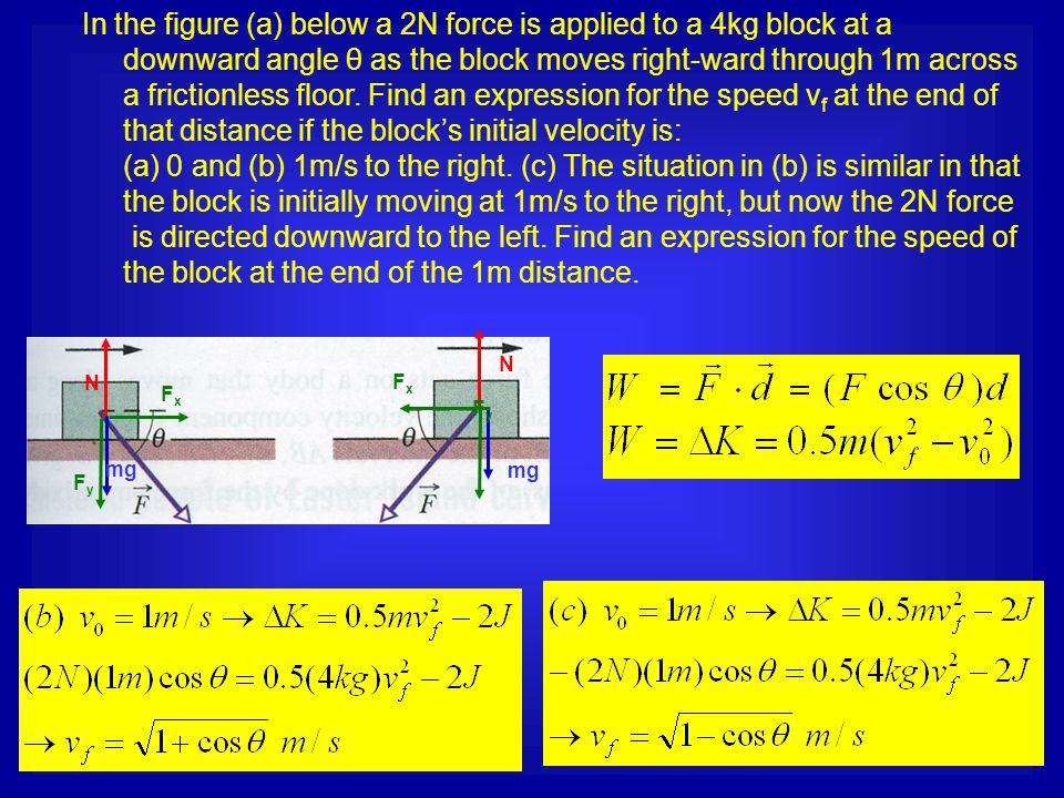 In the figure (a) below a 2N force is applied to a 4kg block at a downward angle θ as the block moves right-ward through 1m across a frictionless floo