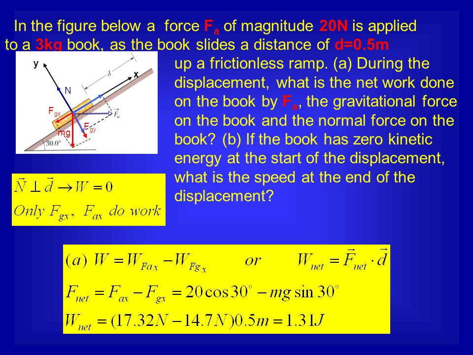In the figure below a force F a of magnitude 20N is applied to a 3kg book, as the book slides a distance of d=0.5m up a frictionless ramp. (a) During