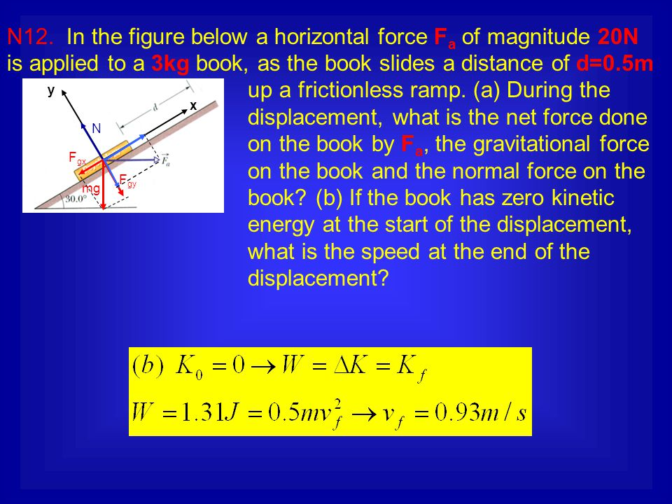 N12. In the figure below a horizontal force F a of magnitude 20N is applied to a 3kg book, as the book slides a distance of d=0.5m up a frictionless r